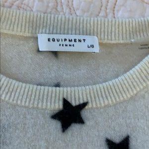 Equipment Sweaters - Equipment 100% Cashmere Snow White W/Stars